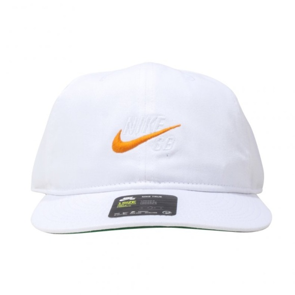 7eb4a23d687 Nike SB Vintage Snapback Hat White Orange Swoosh